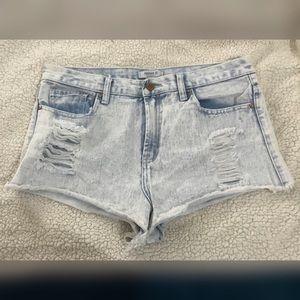 Forever 21 Destroyed Acid Wash Jean Shorts
